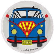 My Superhero-vw-t1-superman Round Beach Towel