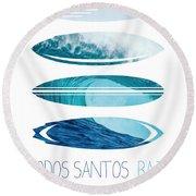 My Surfspots Poster-6-todos-santos-baja Round Beach Towel