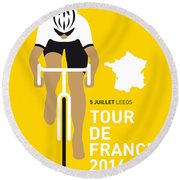 My Tour De France Minimal Poster 2014 Round Beach Towel