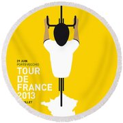 My Tour De France Minimal Poster Round Beach Towel by Chungkong Art