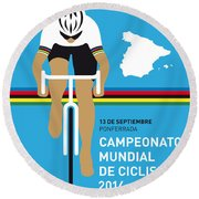 My Uci Road World Championships Minimal Poster 2014 Round Beach Towel