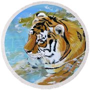 My Water Tiger Round Beach Towel