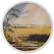 Round Beach Towel featuring the painting My Way Home by Anthony Mwangi