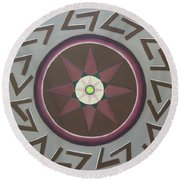 Round Beach Towel featuring the painting My Yantra by Mini Arora
