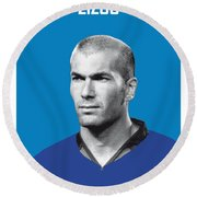 My Zidane Soccer Legend Poster Round Beach Towel by Chungkong Art