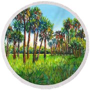 Myakka Palms Round Beach Towel by Lou Ann Bagnall