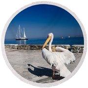 Mykonos Pelican Round Beach Towel