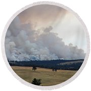 Myrtle Fire West Of Wind Cave National Park Round Beach Towel
