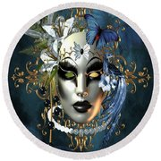 Mysteries Of The Mask 1 Round Beach Towel
