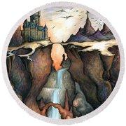 Mystery Canyon - Fantasy Art Painting Round Beach Towel