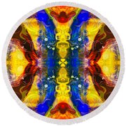 Mysterious Dimensions Abstract Pattern Artwork By Omaste Witkowski Round Beach Towel