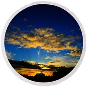 Round Beach Towel featuring the photograph Mysterious Sunset by Mark Blauhoefer