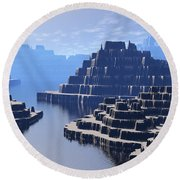 Round Beach Towel featuring the digital art Mysterious Terraced Mountains by Phil Perkins