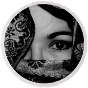 Mysterious Woman Round Beach Towel