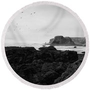 Mysterious Yaquina Head Round Beach Towel