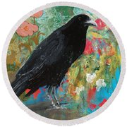 Round Beach Towel featuring the painting Mystery At Every Turn by Robin Maria Pedrero