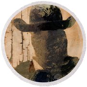 Round Beach Towel featuring the photograph Mysterious Cowboy  by Aaron Berg