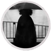Round Beach Towel featuring the photograph Lady At The Lake by Aaron Berg