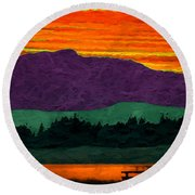 Mystery Mountain Round Beach Towel