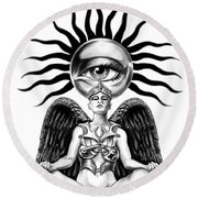 Mystic Contemplation By Spano Round Beach Towel by Michael Spano