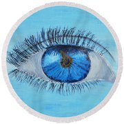 Round Beach Towel featuring the painting Mystic Eye by Pamela  Meredith