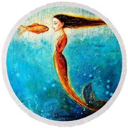Mystic Mermaid II Round Beach Towel