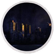 Mystic Orange Glowing Sunrise On Vancouver   Round Beach Towel