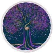 Mystic Spiral Tree 1 Purple Round Beach Towel