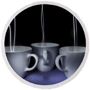 Mystic Tea Cups - Light Painting Round Beach Towel by Steven Milner