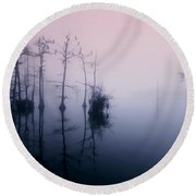 Mystical Morning On The Lake Round Beach Towel