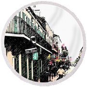 N O French Quarter Round Beach Towel