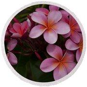 Na Lei Pua Melia O Wailua - Pink Tropical Plumeria Hawaii Round Beach Towel
