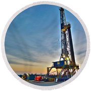 Nabors Rig In West Texas Round Beach Towel