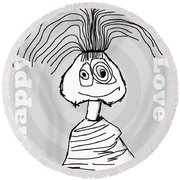 Naive - Gray Round Beach Towel