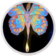 Naked Butterfly Lady Transformation Round Beach Towel