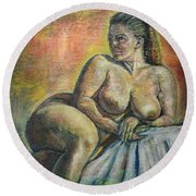 Naked Paris Round Beach Towel