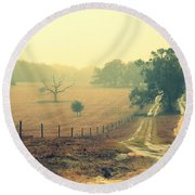 Naked Tree Farm Round Beach Towel