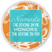 Namaste Watercolor Flowers Round Beach Towel