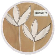 Namaste White Flowers Round Beach Towel