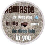 Namaste With Beach Glass And Pebble Round Beach Towel