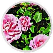 Nana's Roses Round Beach Towel