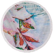 Nandina In Snow Round Beach Towel
