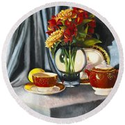 Round Beach Towel featuring the painting The Legacy by Marlene Book