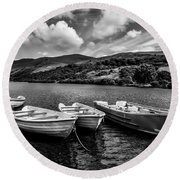Round Beach Towel featuring the photograph Nantlle Uchaf Boats by Adrian Evans