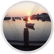 Round Beach Towel featuring the photograph Nantucket Sunrise 2 by Robert Nickologianis