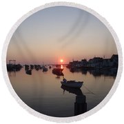 Round Beach Towel featuring the photograph Nantucket Sunrise by Robert Nickologianis