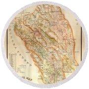 Napa Valley Map 1895 Round Beach Towel