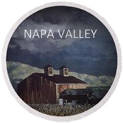 Napa Valley Poster Round Beach Towel