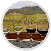 Napa Valley Wine Train Delights Round Beach Towel by Michele Myers