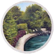 Naperville Riverwalk II Round Beach Towel